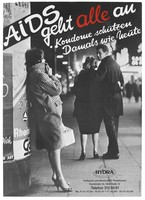 view A man walks arm in arm with a woman while looking back at a prostitute in a check coat; representing the need for prostitutes to use condoms to prevent AIDS. Colour lithograph after Ullstein Bilderdienst for Hydra, 199-.
