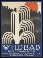 view Water-fountains, the Black Forest, and a red sunset, representing the health resort Wildbad im Schwarzwald (Baden-Württemberg). Colour lithograph after A. Fischinger, 192-.