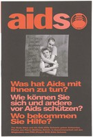 view Advice on AIDS and where to get help, HIV statistics in Europe, and quotations from celebrities. Colour lithograph by Pierre Matthey in cooperation with PWA (People With AIDS) Schweiz.