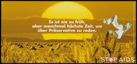 view Bales of wheat in a yellow field with a pair of white socks floating against a yellow sunset representing an advertisement for safe sex; German version of a series of 'Stop AIDS' campaign posters by the Federal Office of Public Health in collaboration with the AIDS-Hilfe Schweiz. Colour lithograph.