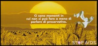 view Bales of wheat in a yellow field with a pair of white socks floating against a yellow sunset representing an advertisement for safe sex; Italian version of a series of Stop AIDS campaign posters by the Federal Office of Public Health, in collaboration with the AIUTO AIDS Svizzero. Colour lithograph.