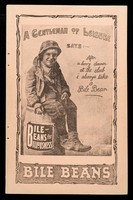 view A gentleman of leisure says : after a heavy dinner at the club I always take a Bile Bean : Bile Beans for biliousness / The Bile Bean Manufacturing Co.