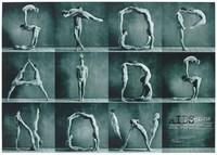 view Semi-naked men and women from the dance company Momix Dancers use their bodies to form the words 'Stop AIDS Now', an advertisement by the AIDS-Hilfen Österreichischs. Colour lithograph by Claudio Alessandri Design, ca. 1995.
