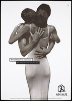 view The back view of woman in a tight white strappy dress who is embraced by a man; with the message in German 'Humanity is contagious. With HIV (positive) women do not stroke/caress'; an advertisement by the AIDS-Hilfe. Colour lithograph by PK&P.