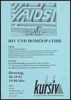 view The words 'AIDS' forming the centre of a maze with four figures on the outside holding maps in an attempt to find their way in, an illustration by Ingram Pinn; an advertisement for a meeting in Berlin about HIV and homeopathy by Dr Karin Bandelin and Dr Almut Gestrich on 26 October 1993 at the headquarters of Kursiv, the Centre for AIDS and advice for gay men. Photocopy, 1993.