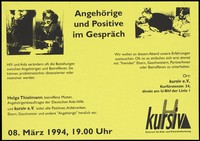 view AIDS and the family: a mother with a child, and a man embraced by his family as he dies of AIDS; advertising an evening in Berlin in 1994 for those affected by HIV and AIDS. Photocopy, 1994.
