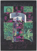 view A cross incorporating a montage of pink heart muscles, pink triangles, crossed red and green squares, the AIDS red ribbon on a stamp, flowers, a hand and a version of the American flag; on a background coloured in green crayon incorporating a montage of photographs including Christ's head of thorns and a hand injecting a syringe into an arm; on a further black background bearing the brown lettering: 'el colonialismo' [colonialism]; advertising the danger of AIDS. Colour lithograph by Juan Sánchez, ca. 1995.