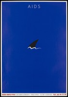 view A shark's fin protruding out of a blue ocean with the words 'AIDS' above representing the dangers of AIDS; an advertisement to mark the centenary of the Danish AIDS Information system in Fyn. Colour lithograph, ca. 1995.
