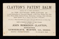 view Clayton's patent balm : should be in every household ... / John Morrison Clayton.