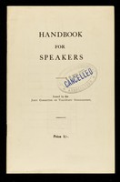 view Handbook for speakers / issued by the Joint Committee on Voluntary Sterilization.