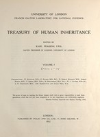 view Treasury of human inheritance / edited by Karl Pearson, R.A. Fisher, L.S. Penrose.
