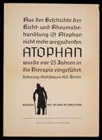 view Aus der Geschichte der Gicht- und Rheumabehandlung ist Atophan nicht mehr wegzudenten ... / Schering-Kahlbaum AG.