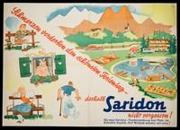 view Schmerzen verderben den schönststen Ferientag : deshalb Saridon nicht vergessen! : Die neue Saridon-Taschenpackung hat Platz im kleinsten Gepäck : auf Wunsch senden wir eine! / Hoffmann-La Roche Wien.