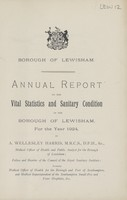 view [Report of the Medical Officer of Health for Lewisham Borough].