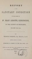 view [Report of the Medical Officer of Health for Kensington].