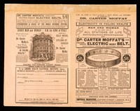 view Electricity in failing health : men and women of all ages, and in all stations of life should stop taking poisonous medicines & drugs & simply wear Dr. Carter Moffat's cool feather-weight electric body belt ... / Dr. Carter Moffat.