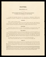 view Bulletin. No. 25, Deafness / Clinical Department of The Vibrator Instrument Company.