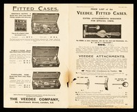 view Price list of the Veedee, fitted cases, and of extra attachments designed for special uses / The Veedee Company.