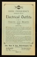 view Trojan high frequency (violet-ray) electrical outfits for health and  beauty / John Shaw & Sons, Wolverhampton, Ltd.