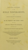 view The natural history of the human temperaments : their laws in relation to marriage, and the fatal consequences of their violation to progeny, with the indications of vigorous life and longevity : followed by a fugitive essay on the protection of society against crime / by W. Byrd Powell.
