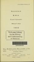 view Souvenir : B.M.A Centenary meeting 1932 / Burroughs Wellcome & Co. (The Wellcome Foundation).
