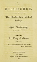 view A discourse, read before the Rhode-Island Medical Society, on their anniversary, September, A. D. 1813.