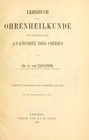view Lehrbuch der Ohrenheilkunde : mit einschluss der anatomie des ohres / von A. von Tröltsch.
