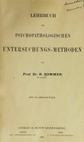 view Lehrbuch der psychopathologischen Untersuchungsmethoden / von Prof. Dr. R. Sommer ... Mit 86 Abbildungen.