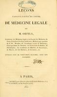 view Leçons faisant partie du cours de médecine légale / de M. Orfila.