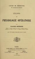 view Les de physiologie opatoire / par Claude Bernard.