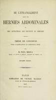 view De l'étranglement dans les hernies abdominales : et des affections qui peuvent le simuler : thèse de concours pour l'agrégation en chirurgie (1853) / par M. Paul Broca.