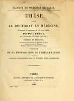 view Thèse pour le doctorat en médecine, présentée et soutenue le 16 Avril 1849 : de la propagation de l'inflammation : quelques propositions sur les tumeurs dites cancéreuses / par Paul Broca.