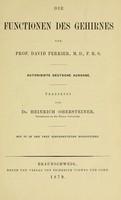 view Die Functionen des Gehirnes / von David Ferrier.