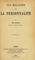 view Les maladies de la personnalité / par Th. Ribot.