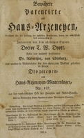 view Bewährte patentirte und Haus-Arzeneyen : berühmt für die Heilung der mehrsten Krankheiten, denen der menschliche Leib unterworfen ist / zubereitet von dem alleinigen Eigner, Doctor T.W. Dyott, Enkel des weiland berühmten Dr. Robertson, von Edinburg, und werden in Philadelphia bey ihn allein zum Verkauf gehalten, in seinem Drogereyen- und Haus-Arzeneyen-Waarenlager, No. 137, auf der nord-östlichen Ecke der Zweyten- und Rehs-Strasse, und im Kleinen bey seinen Agenten in allen Vereinigten Staaten.