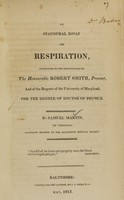 view An inaugural essay on respiration.