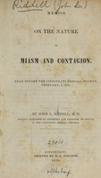 view Memoir on the nature of miasm and contagion : Read before the Cincinnati Medical Society, February, 3, 1836.