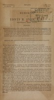 """view Memorial of Edwin M. Snow, Providence, Rhode Island : protesting against the passage of the """"Joint resolution (S. 38) providing quarantine regulations to prevent the introduction and spread of Asiatic cholera,"""" and praying that a thorough investigation of quarantine regulations may be instituted."""