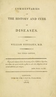 view Commentaries on the history and cure of diseases.