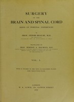 view Surgery of the brain and spinal cord based on personal experiences / Translated by Herman A.Haubold.