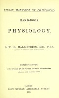 view Handbook of physiology / by W. D. Halliburton.