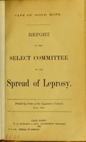 view Report of the Select Committee on the Spread of Leprosy.