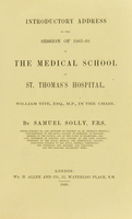view Introductory address to the session of 1867-68 of the medical school of St. Thomas's hospital.