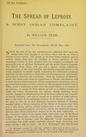 view The spread of leprosy : a West Indian complaint / by William Tebb.