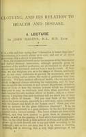 view [Clothing, and its relation to health and disease] / by John Haddon.