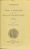 view A catalogue of the library of the Royal Medical and Chirurgical Society of London.