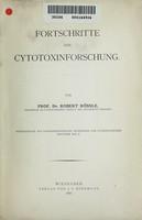 view Fortschritte der Cytotoxinforschung / von Robert Rössle.