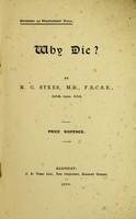 view Why die? / by M.C. Sykes.