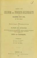 view Ueber ein Colobom der inneren Augenhäute ohne Colobom der Iris : inaugural-Dissertation zur Erlangung der Doctorwürde / von Hugo von Hoffmann.