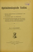 view Ophthalmoskopische Studien / von A. Siegrist.